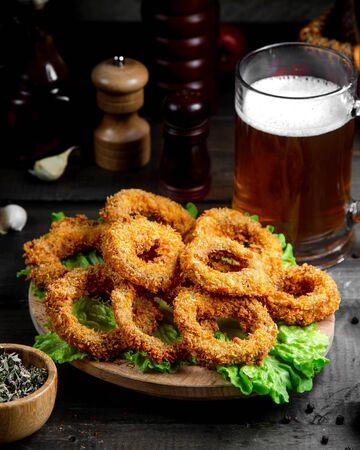 onion rings with beer mug