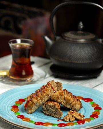 traditional azerbaijani tea in armudu glass
