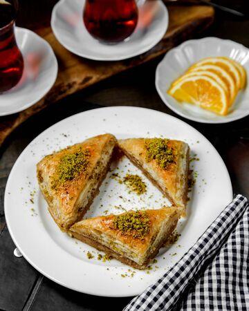 turkish triangle pakhlava on the table Stok Fotoğraf