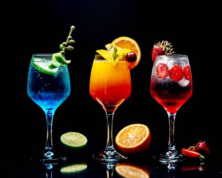 selection of various cocktails on the table