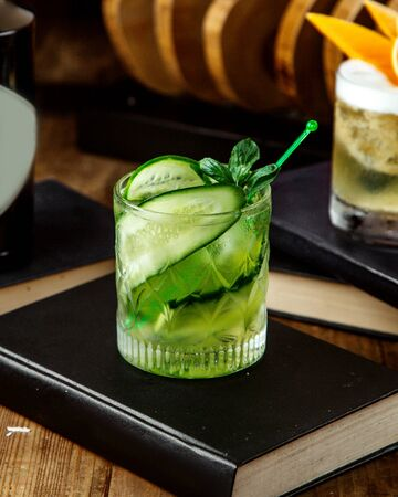 refreshing beverage with cucumber slices