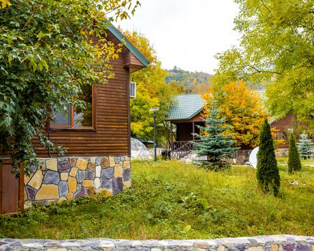 a pair of wooden houses placed in the forest Stok Fotoğraf