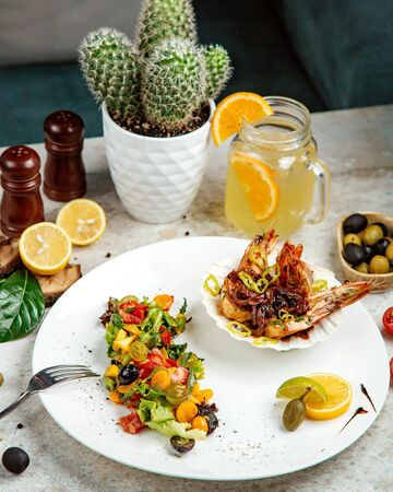 mixed vegetable salad with sea food Stok Fotoğraf