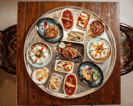 various selection of aperetif salads