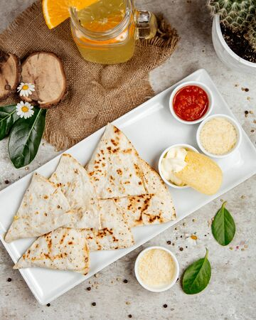 lavash with various sauces and chips Stok Fotoğraf - 134747553