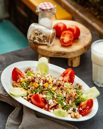 mixed vegetable salad with walnuts