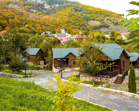 wooden houses placed in the forest Stok Fotoğraf
