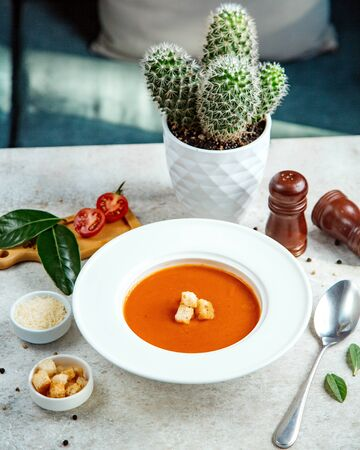 tomato soup topped with crackers Stok Fotoğraf - 134747572
