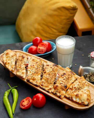 meat casserole with side ayran and tomatoes Stok Fotoğraf
