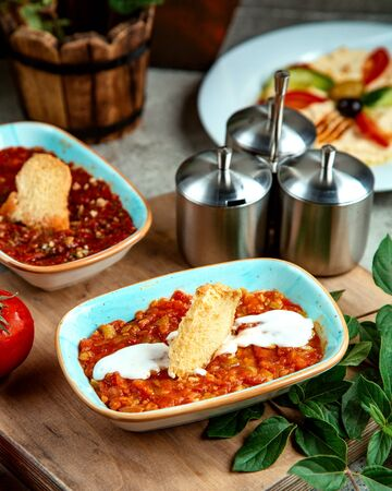 mashed vegetables with sour cream and cracker Stok Fotoğraf - 134747506