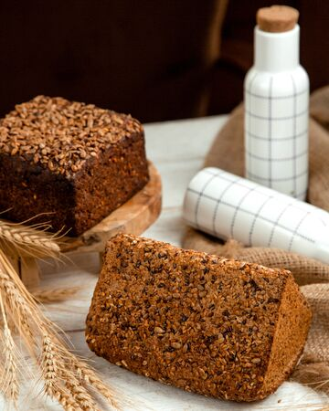 black and white bread with sesame Stok Fotoğraf - 134747509