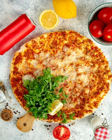 turkish pide with cheese meat and herbs Stok Fotoğraf - 134747512