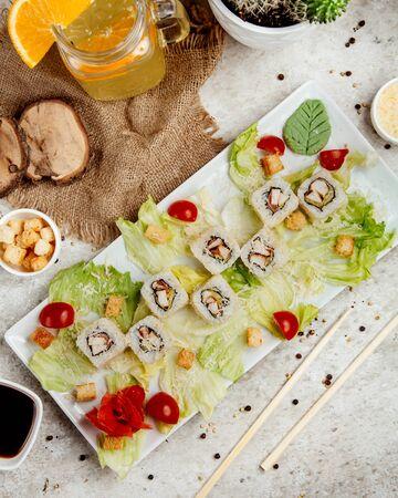 sushi set with side salad