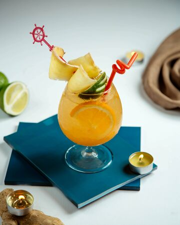 tropical juice with multiple fruits inside Stok Fotoğraf - 134747515