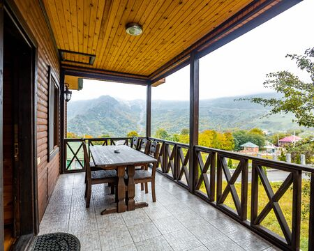 gorgeous wooden house with view of the forest