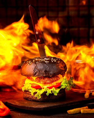 meat double cheeseburger in brown bread on a background of