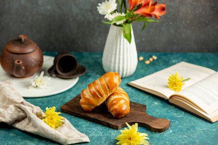 freshly baked buns in a loaf shape