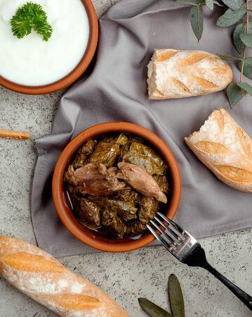 grape leaf dolma with stuffed meat Imagens
