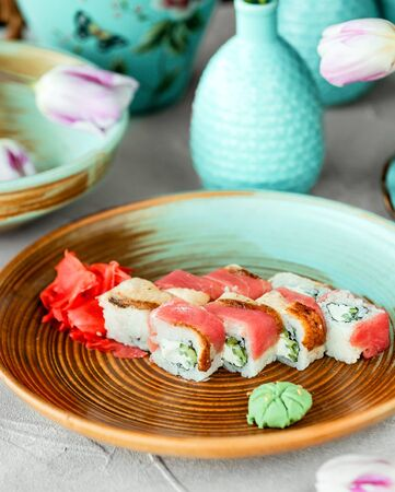 sushi set on the table ____