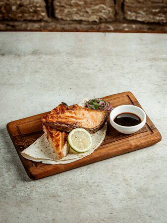 fried salmon with narsharab sauce