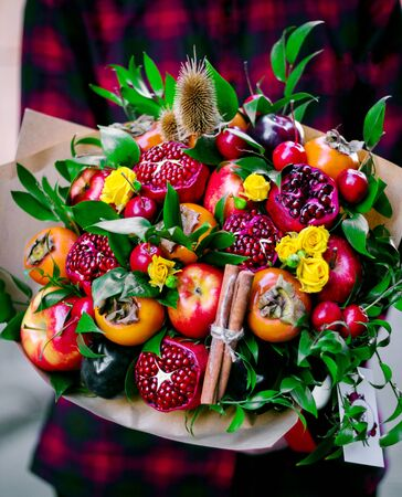 fruit bouquet made from mixed fruits