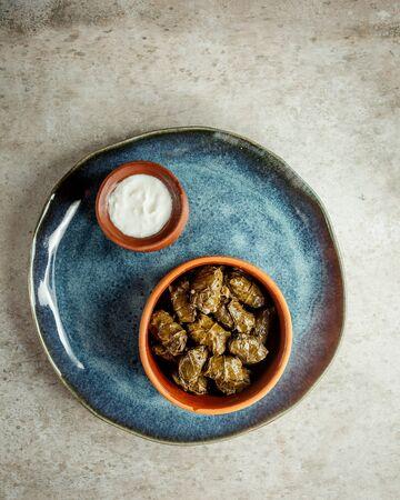 leaves dolma with sour yogurt