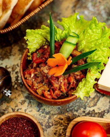 mangal salad with sliced herbs