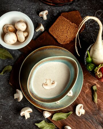 mushroom soup with side vegetables