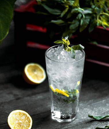 refreshing drink with crushed ice and lemon 版權商用圖片