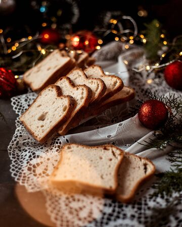 sliced bread and new year toys 版權商用圖片 - 144710631