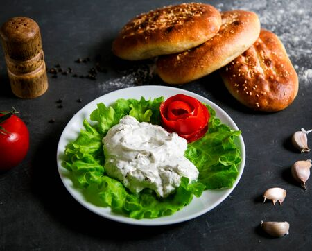 sour cream with loafs of bread Stok Fotoğraf