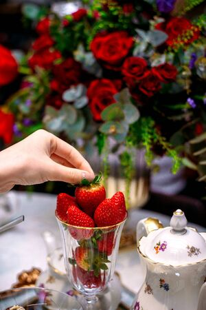 strawberries served in glass