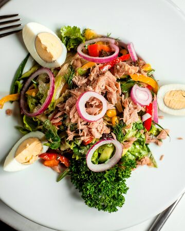 tuna salad with sliced eggs and onions