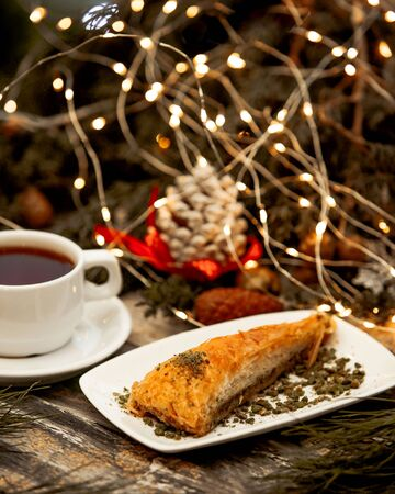 turkish dessert with black tea