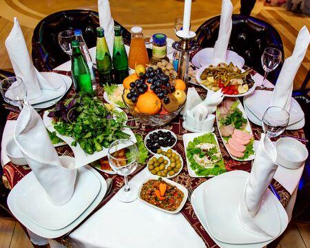 various food on the table in restaurant 版權商用圖片 - 144710740