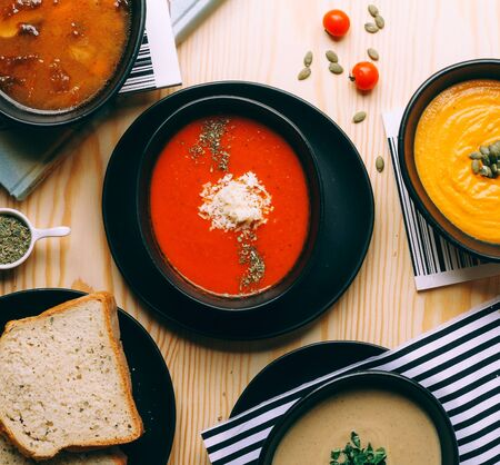 tomato soup with dried herbs and cheese