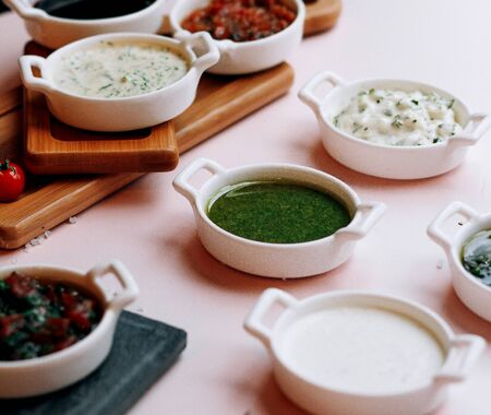 various salads and soups on the table 版權商用圖片 - 144710802