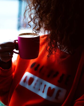 a cup of coffee in pink cup Stok Fotoğraf