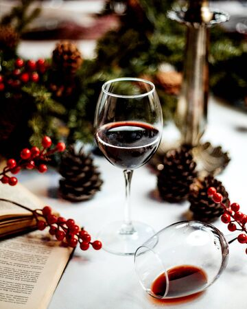 a glass of red wine and books