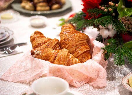 a pair of croissants on the table 版權商用圖片 - 144710871