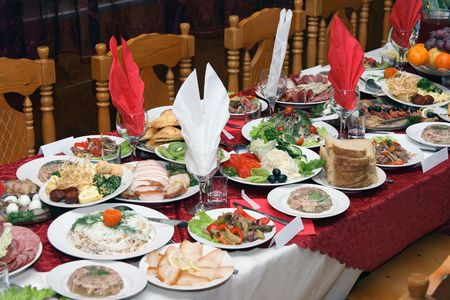 Festively covered Russian table with various dishes