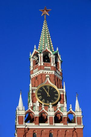 spassky: Hours on the Spassky tower of Moscow Kremlin, Russia.