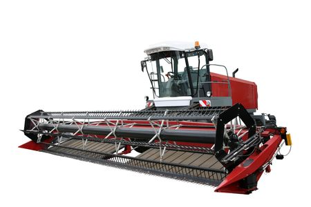 agronomics: Red modern combine separately on a white background Stock Photo
