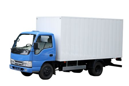 maneuverable: Small compact van separately on a white background