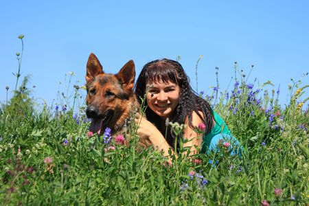 affinity: The girl with a dog sit in a grass