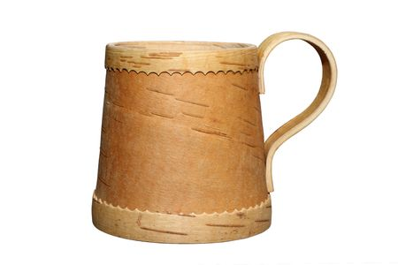 bark carving: Mug from a bark of a birch isolated over white