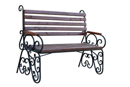 Wooden garden bench separately on a white background Stock Photo - 7978572