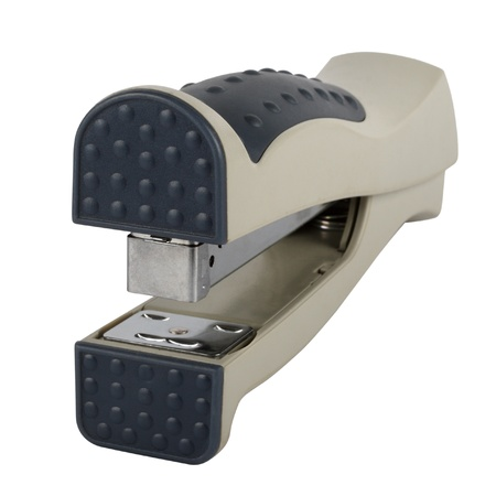 Grey clerical stapler separately on a white background Stock Photo - 9289514