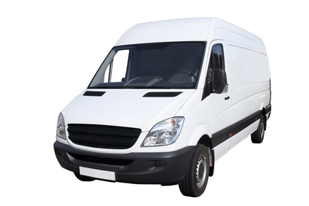 moving van: Small compact van separately on a white background