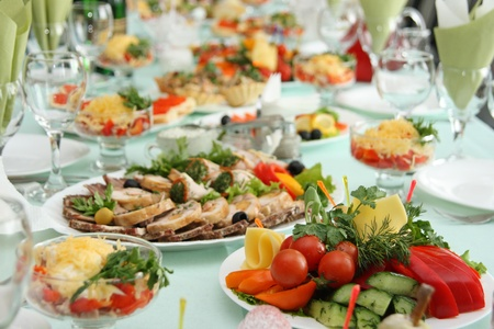 buffet table: Table at restaurant covered by a holiday